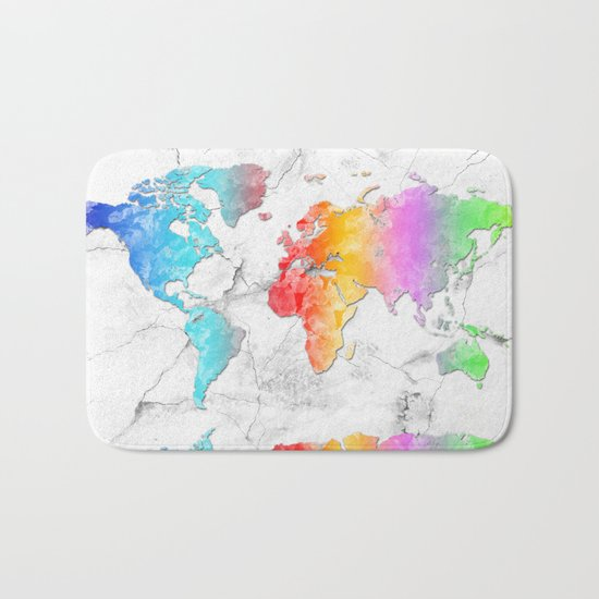 world map marble 2 Bath Mat
