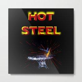 Hot Steel Blacksmith Forge Anvil Sparks Metal Print