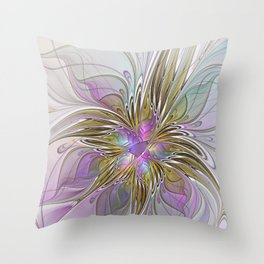 Flourish, Abstract Fractal Art Flower Throw Pillow