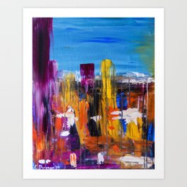 Abstract Colorful Landscape Rain in the City Art Print