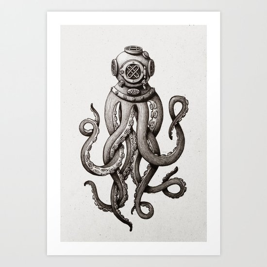Octopus the Diver Art Print