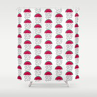 vegetarian Shower Curtains featuring Watermelon - modern fruit summer citrus vegan vegetarian juicing cleanse art print dorm decor by CharlotteWinter