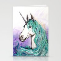 unicorn Stationery Cards featuring Unicorn by Pendientera