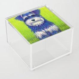 Colorful Miniature Schnauzer Dog Pet Portrait Acrylic Box