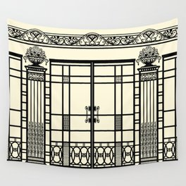 ART DECO, ART NOUVEAU IRONWORK: Black and Cream Wall Tapestry