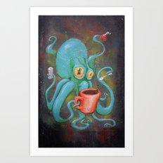 Michelle's Coffee Drinking Octopus Art Print