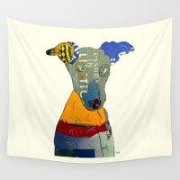 greyhound Wall Tapestries featuring kacy (greyhound  by bri.buckley