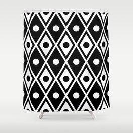 Harlequin Pattern Black & White Shower Curtain