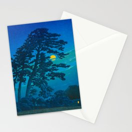 Vintage Japanese Woodblock Print Kawase Hasui Haunting Tree Silhouette At Night Moonlight Stationery Cards