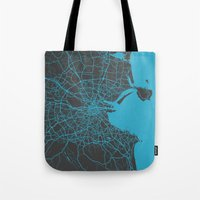 dublin Tote Bags featuring Dublin Map by Map Map Maps