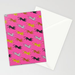 Pink Big Cat Pattern Stationery Cards