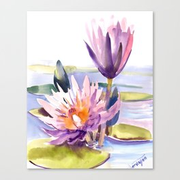 Water Lily,  Lotus, Asian Ink drawing Zen brush pink purple flower Canvas Print