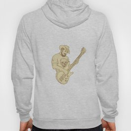 Cowboy Bass Guitar Isolated Drawing Hoody