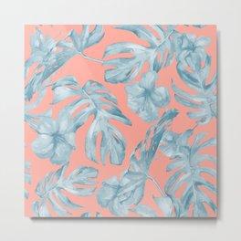 Island Life Pale Teal Blue on Coral Pink Metal Print