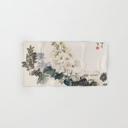 Vintage Chinese Ink and Brush Painting and Calligraphy Hand & Bath Towel