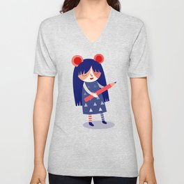 Pencil Girl Unisex V-Neck