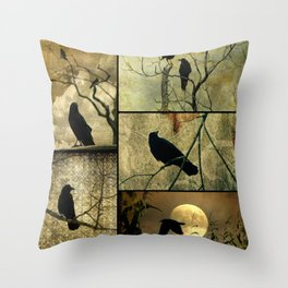 Aged Crow Collage Throw Pillow