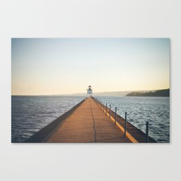 lake superior agate bay breakwater sunset Canvas Print