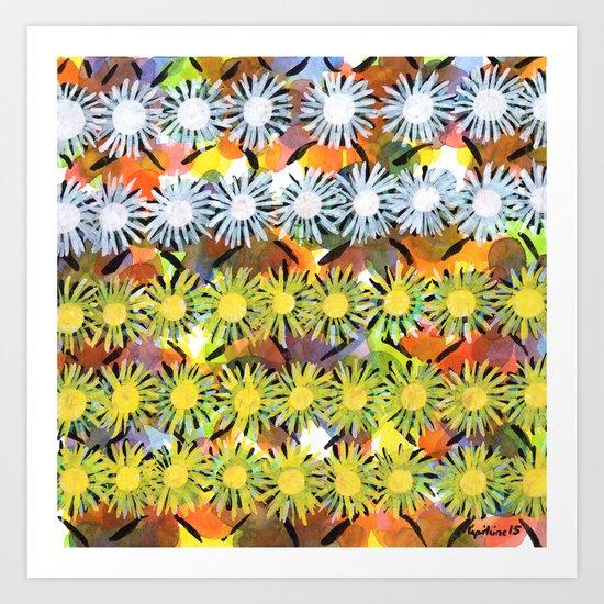 Rainbow Flower Pattern Art Print