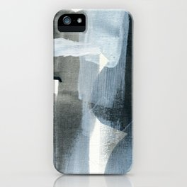 The Curious Inbetween #11 - Minimal Abstract Painting in Grey & Blue iPhone Case
