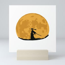 Japanese Ninja Samurai Blood Moon T-Shirt Tees Mini Art Print