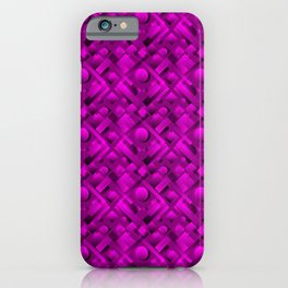 Volumetric design with interlaced circles and violet rectangles of stripes. iPhone Case