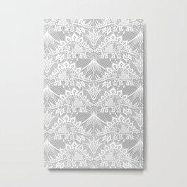 Stegosaurus Lace - White / Silver Metal Print