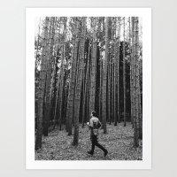 Running in the woods Art Print