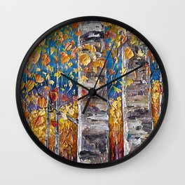 Autumn Aspen Colors Palette Knife Wall Clock