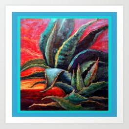 Southwest Desert Agave Cacti Sunrise Art Print