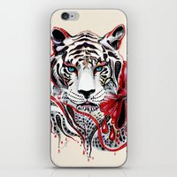 tiger iPhone & iPod Skins featuring White Tiger by Felicia Atanasiu