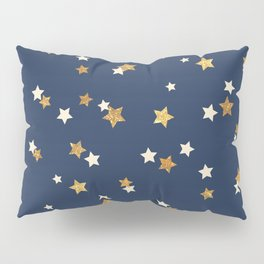 Navy blue faux gold glitter elegant starry pattern Pillow Sham