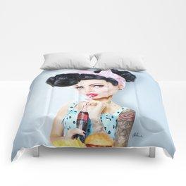 Pinup cool woman Comforters