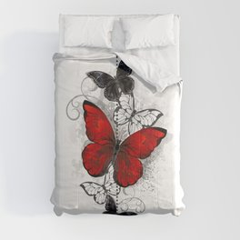 Red and Black Butterflies Comforters