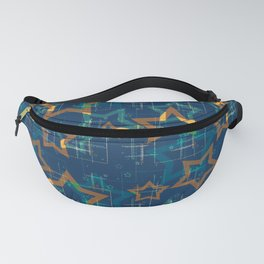 Star . Gold stars on a blue background . Fanny Pack