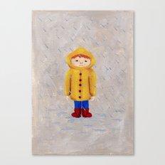 Boy In Rain Canvas Print