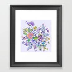 Floral Blue Framed Art Print