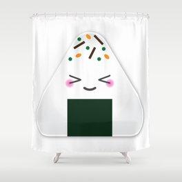 Happy onigiri Shower Curtain