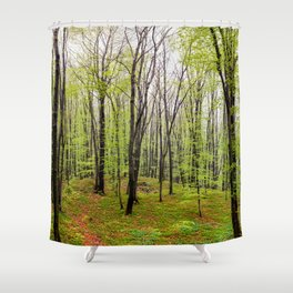 Spring green leafy deciduous forest Shower Curtain