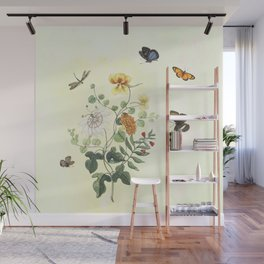 The return of Spring - butterflies and flowers Wall Mural