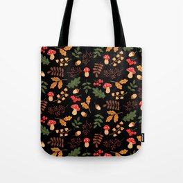 Christmas forest black Tote Bag