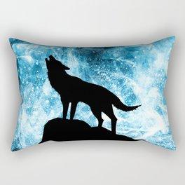 Howling Winter Wolf snowy blue smoke Rectangular Pillow