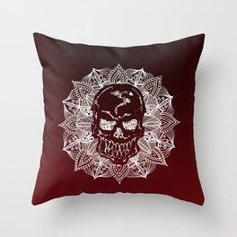 White Mandala Circle Skull Throw Pillow