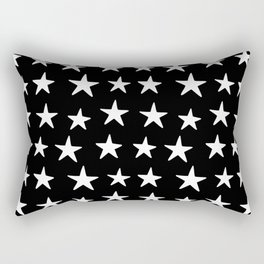 Star Pattern White On Black Rectangular Pillow