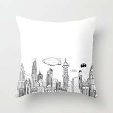 Gotham City Skyline Throw Pillow