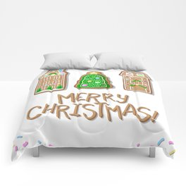 Merry Christmas Poster with Gingerbread Houses and Fir Tree Comforters