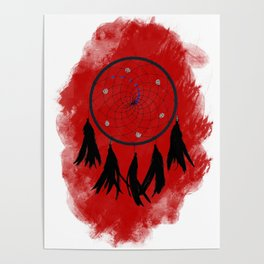 Dreamcatcher crow: Red background Poster