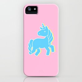 Blue unicorn in a pink world iPhone Case