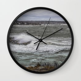 Waves crashing over the jetty Wall Clock
