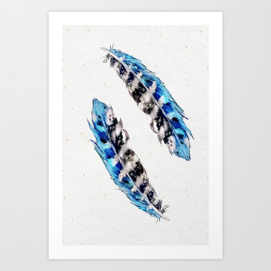 Two  blue feathers Art Print